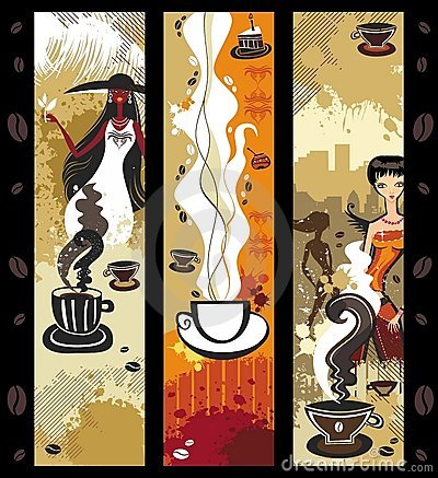 De meisjesbanners van de koffie.