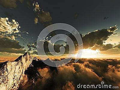 De mening van de avond boven wolken