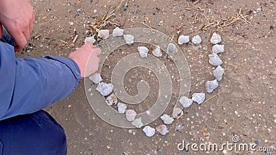 De mens maakt hart van schelpen op zandig strand op zee, handen sluiten stock videobeelden