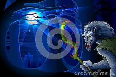 De Mens van de wolf in de nacht van Halloween