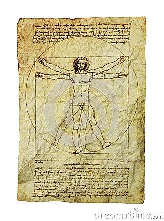 De Mens van Vitruvian van DA Vinci Redactionele Fotografie