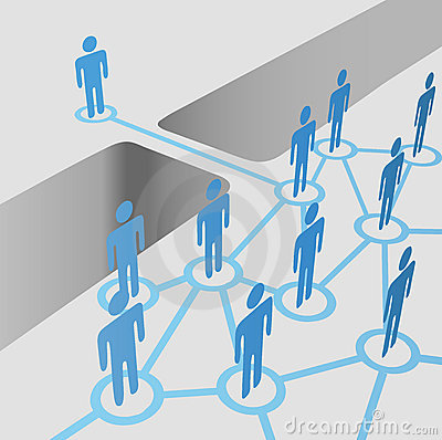De mensen overbruggen hiaat verbinden lid worden van het team van de netwerkfusie