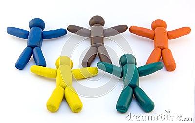 De mensen van de plasticine en olympische ringen