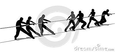 De mensen van de touwtrekwedstrijd silhouetteren