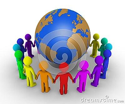 De mensen vormen een cirkel rond aarde