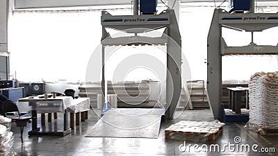 De mensen werken in groot pakhuis met goederen bij fabriek stock video