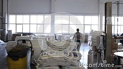De mensen werken in groot pakhuis met goederen bij fabriek stock footage