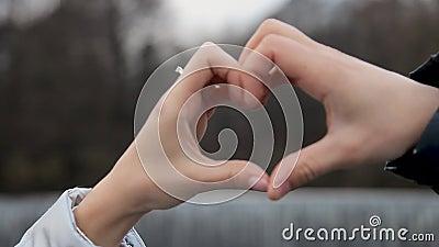 De minnaars maken een hart uit hun handen stock video
