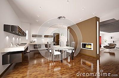 De moderne keuken met 3d open haard geeft terug royalty vrije stock afbeeldingen afbeelding - Eetkamer leunstoel ...