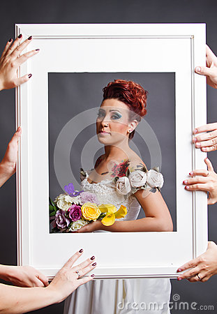 De montage van de bruid in frame