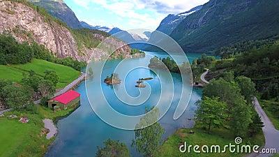 De Mooie Aard Noorwegen van het Lovatnetmeer stock video