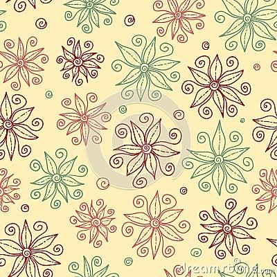 De mooie krabbel bloeit naadloos patroon.