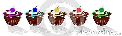 De muffin van september die met suikerglazuur wordt verfraaid