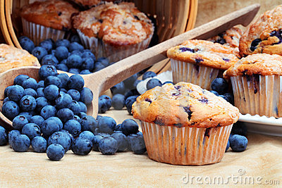 De Muffins van de bosbes