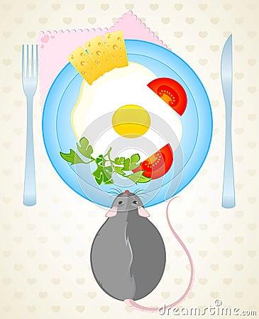 De muis wil de gebraden eieren eten