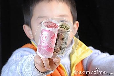 De munt van China de V.S.