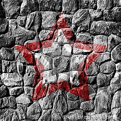 De muur van de steen met ster