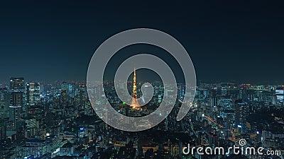 De nacht van Tokyo en de Torencityscape van Tokyo timelapse stock footage