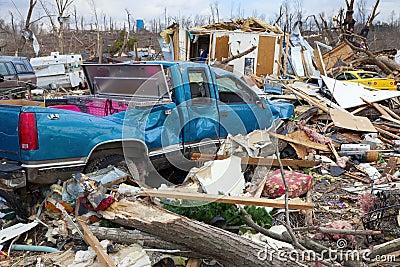 De nasleep van de tornado