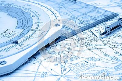 De Navigatie van de luchtroute