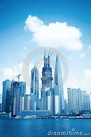 De nieuwe oriëntatiepuntbouw in Shanghai