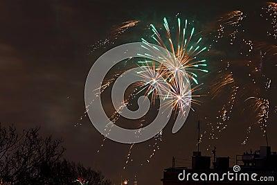 De Noche Vieja la visualización de los fuegos artificiales