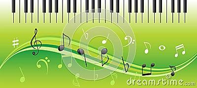 De nota s van de muziek met pianosleutels