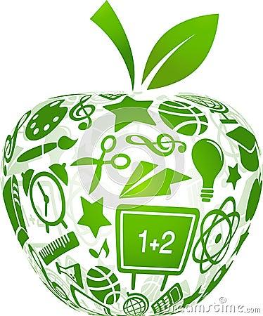 De nuevo a la escuela - manzana con los iconos de la educación