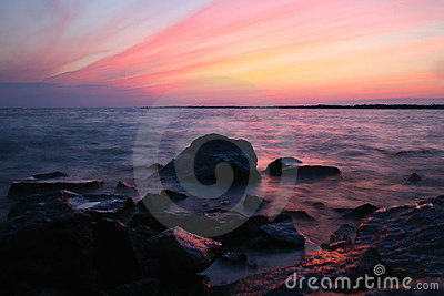 De oceaan van de zonsondergang