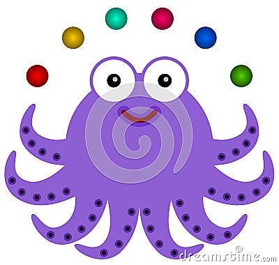 De octopus jongleert met
