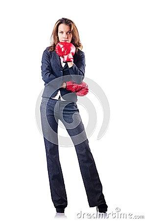 De onderneemster van de vrouw met bokshandschoenen