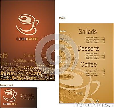 De ontwerpen van het malplaatje van menu en adreskaartje voor cof