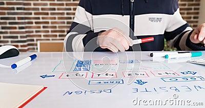 De ontwerper ontwikkelt een een websiteontwerp en tekening zijn kader op een whiteboard stock video