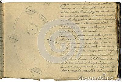 De oorspronkelijke pagina van het astronomienotitieboekje