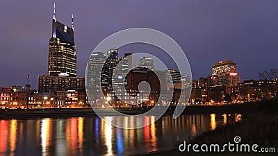 De open dag-tot-nacht chronologie van Nashville, Tennessee, Verenigde Staten 4K stock footage
