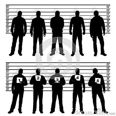 De opstellingssilhouetten van de politie