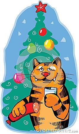 De oranje kat viert nieuw jaar