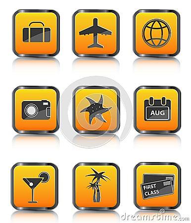 De oranje palm van het de bagagevliegtuig van het reispictogram coctail