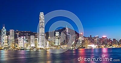 De Oriëntatiepunten van Hongkong bij Nacht