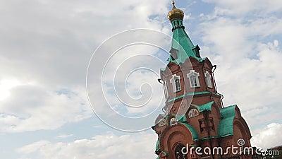 De orthodoxe kerk is een historisch oriëntatiepunt Heilige St Nicholas Church stock footage