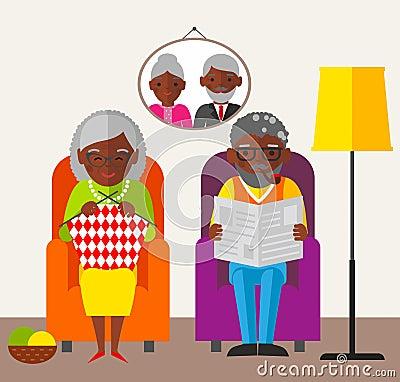 De oude gelukkige man zitting van de vrouwenfamilie in een leunstoel thuis vector illustratie - Koloniale leunstoel thuis van de wereld ...