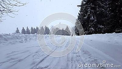 De ouder trekt kind op de winterslee vanaf camera in de achtergrond Familiescène in sneeuw toneellandschap snowing stock videobeelden