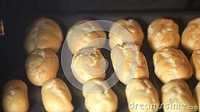 In de oven gebakken bollen stock video
