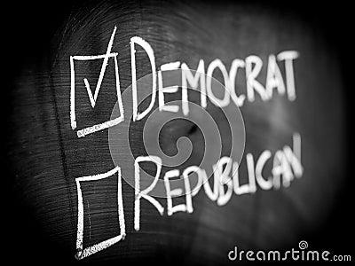 De overwinning van de democraat in verkiezing