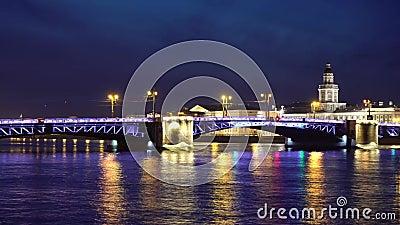 De Palace Bridge in Sint-Petersburg, Rusland stock video