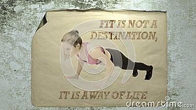 De pasvorm is geen bestemming het een manier van het leven is stock footage