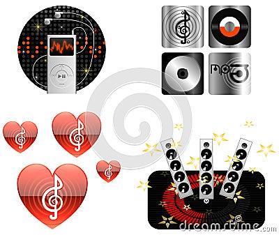 De pictogram-illustratie-vector van de muziek pictogrammen
