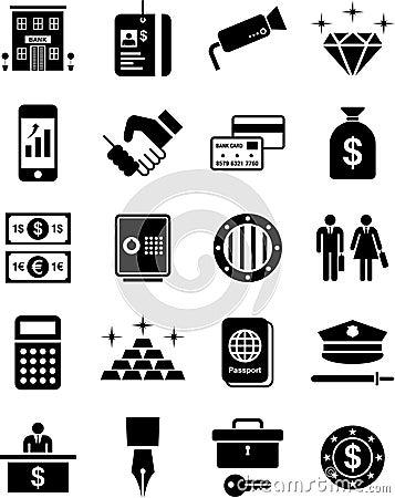 De pictogrammen van de bank