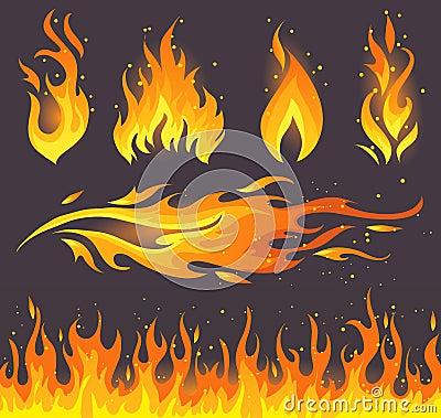 De pictogrammen van de brand