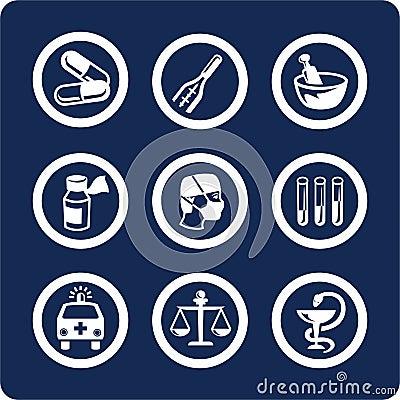 De pictogrammen van de geneeskunde en van de Gezondheid (plaats 6, deel 1)